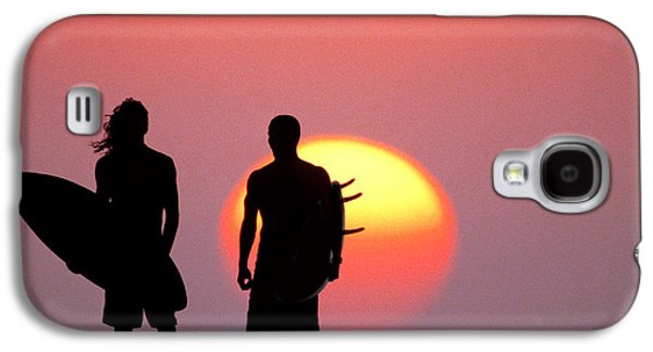 Surf Silhouette Galaxy S4 Cases - Surfers Sunset Galaxy S4 Case by Sean Davey