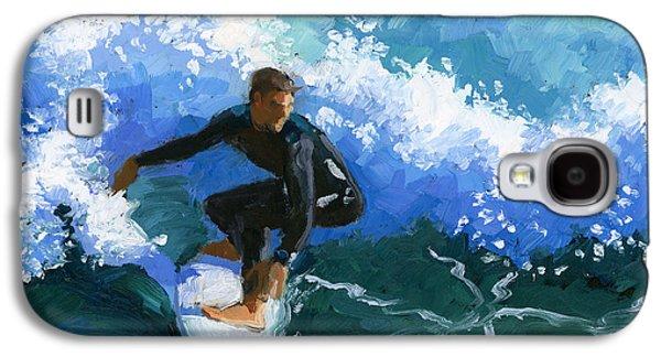 Caught Galaxy S4 Cases - Surfin Huntington Beach Pier Galaxy S4 Case by Alice Leggett