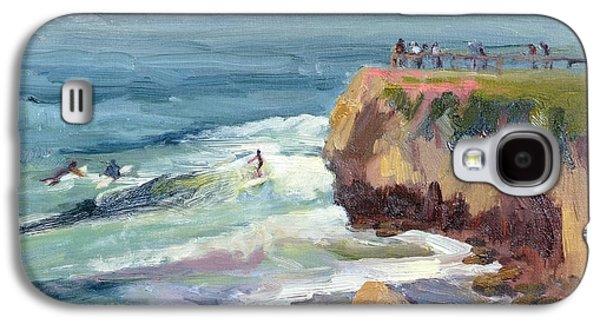 Steamer Lane Galaxy S4 Cases - Surfing at Steamers Lane Santa Cruz Galaxy S4 Case by Suzanne Elliott