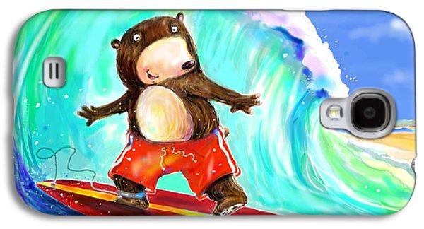 Scott Nelson Galaxy S4 Cases - Surfing Bear Galaxy S4 Case by Scott Nelson