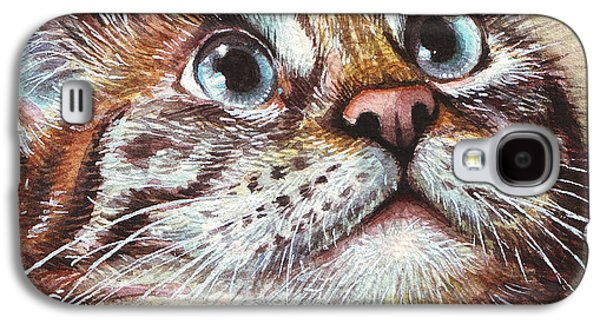 Pet Portrait Galaxy S4 Cases - Surprised Kitty Galaxy S4 Case by Olga Shvartsur