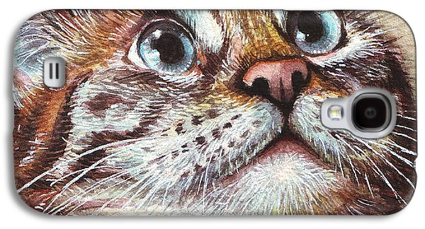 Animal Galaxy S4 Cases - Surprised Kitty Galaxy S4 Case by Olga Shvartsur