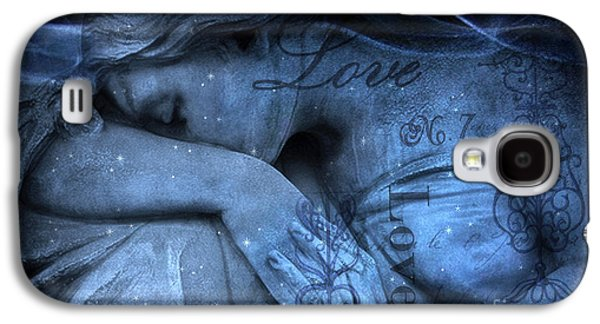 Recently Sold -  - Fantasy Photographs Galaxy S4 Cases - Surreal Blue Sad Mourning Weeping Angel Lost Love - Starry Blue Angel Weeping Galaxy S4 Case by Kathy Fornal