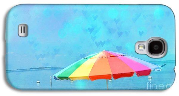 Beach Photos Galaxy S4 Cases - Surreal Blue Summer Beach Ocean Coastal Art - Beach Umbrella  Galaxy S4 Case by Kathy Fornal