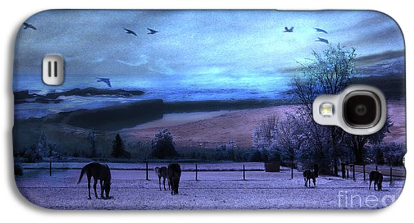 Surreal Fantasy Fairytale Horse Landscapes - Fairytale Blue Skies Galaxy S4 Case by Kathy Fornal