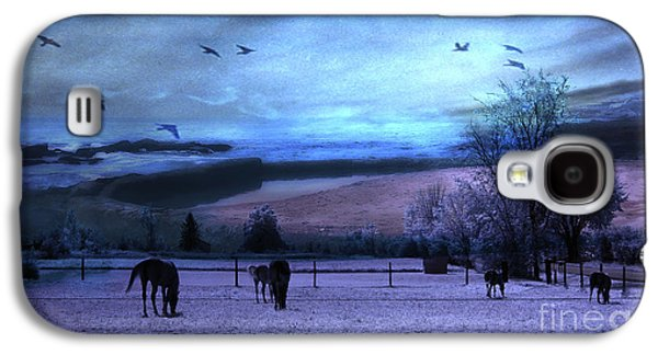 Landscape Framed Prints Galaxy S4 Cases - Surreal Fantasy Fairytale Horse Landscapes - Fairytale Blue Skies Galaxy S4 Case by Kathy Fornal