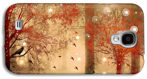 Photographs With Red. Galaxy S4 Cases - Surreal Fantasy Fairytale Nature Autumn Fall Forest Woodlands Gothic Raven Galaxy S4 Case by Kathy Fornal