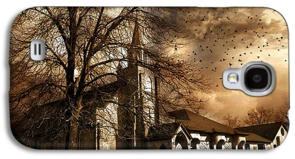 Storm Prints Photographs Galaxy S4 Cases - Surreal Gothic Church Fall Autumn Dark Sky and Flying Ravens  Galaxy S4 Case by Kathy Fornal