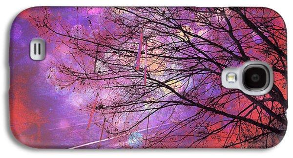 Abstract Digital Photographs Galaxy S4 Cases - Surreal Gothic Fantasy Abstract Bokeh Tree Nature - Abstract Black Purple Orange Trees Galaxy S4 Case by Kathy Fornal