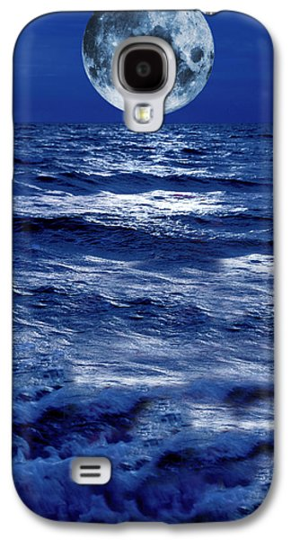 Sea Moon Full Moon Galaxy S4 Cases - Surreal Moon Rise Over Stormy Waters Galaxy S4 Case by Christian Lagereek