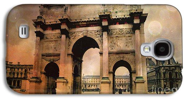 Surreal Paris Arc De Triomphe Louvre Arch Courtyard Sepia Soft Bokeh Galaxy S4 Case by Kathy Fornal