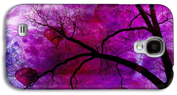 Abstract Digital Photographs Galaxy S4 Cases - Surreal Purple Pink Trees Hot Air Balloons Galaxy S4 Case by Kathy Fornal