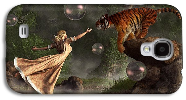Animal Lover Digital Art Galaxy S4 Cases - Surreal Tiger Bubble Waterdancer Dream Galaxy S4 Case by Daniel Eskridge