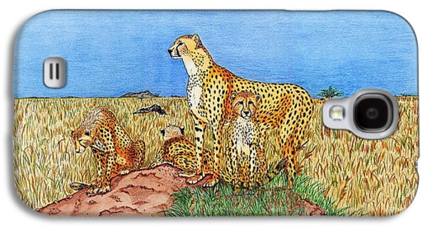 Cheetah Drawings Galaxy S4 Cases - Surveying Supper Galaxy S4 Case by Kenny McClellan