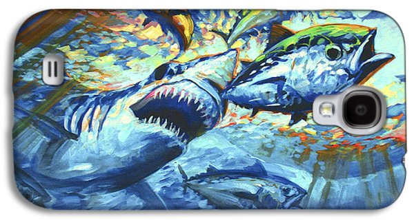 Shark Paintings Galaxy S4 Cases - Sushi for Breakfast Galaxy S4 Case by Mike Savlen
