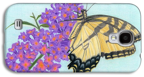Drawing Galaxy S4 Cases - Swallowtail Butterfly And Butterfly Bush Galaxy S4 Case by Sarah Batalka