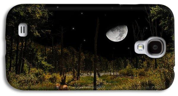 Rollosphotos Digital Art Galaxy S4 Cases - Swamped Moon Landscape Galaxy S4 Case by Christina Rollo