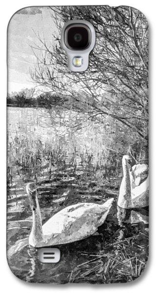 Swan Pair Galaxy S4 Cases - Swan Lake Art Galaxy S4 Case by David Pyatt