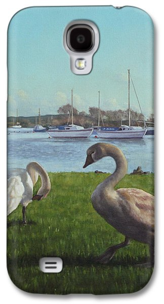 Boats In Harbor Galaxy S4 Cases - swans at Christchurch harbour Galaxy S4 Case by Martin Davey