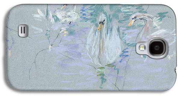 Impressionism Pastels Galaxy S4 Cases - Swans Galaxy S4 Case by Berthe Morisot