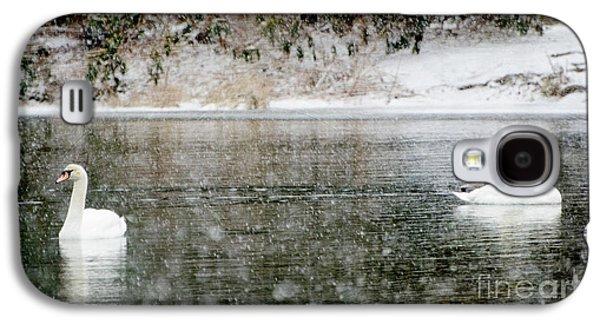 Waterscape Mixed Media Galaxy S4 Cases - Swans on snowy lake winter landscape Galaxy S4 Case by ArtyZen Studios - ArtyZen Home