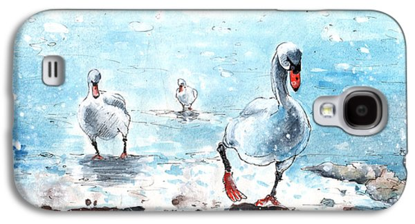 Switzerland Drawings Galaxy S4 Cases - Swans On The March Galaxy S4 Case by Miki De Goodaboom