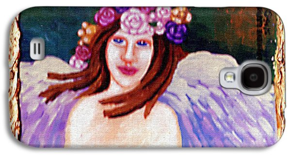 Wreath Paintings Galaxy S4 Cases - Sweet Angel Galaxy S4 Case by Genevieve Esson