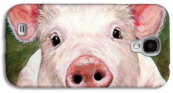 Piglets Paintings Galaxy S4 Cases - Sweet Little Piglet on Green Galaxy S4 Case by Dottie Dracos