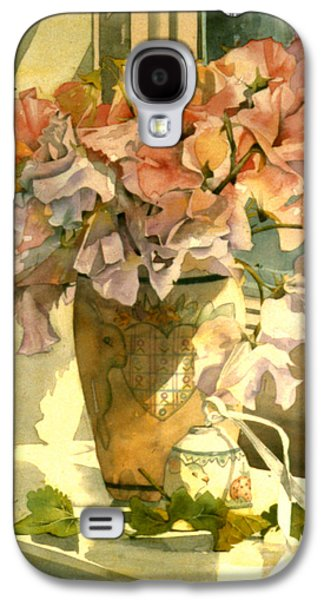 Indoor Still Life Galaxy S4 Cases - Sweetpea On The Windowsill Galaxy S4 Case by Julia Rowntree