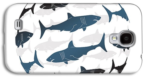 Shark Paintings Galaxy S4 Cases - Swimming Blue Sharks Around The Globe Galaxy S4 Case by Amy Kirkpatrick