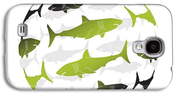 Shark Paintings Galaxy S4 Cases - Swimming Green Sharks Around the Globe Galaxy S4 Case by Amy Kirkpatrick