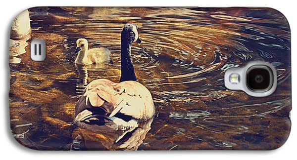 Geese Digital Art Galaxy S4 Cases - Swimming With Mom Galaxy S4 Case by Maria Angelica Maira