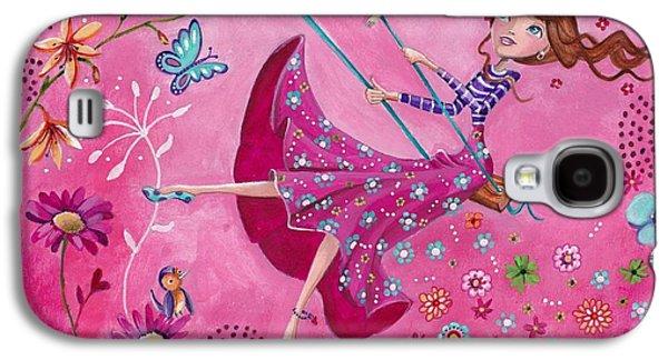 Fairy Hearts Pink Flower Galaxy S4 Cases - Swing Girl Galaxy S4 Case by Caroline Bonne-Muller