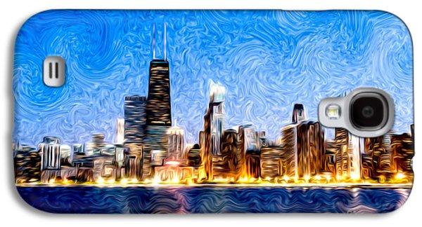 Swirly Galaxy S4 Cases - Swirly Chicago at Night Galaxy S4 Case by Paul Velgos