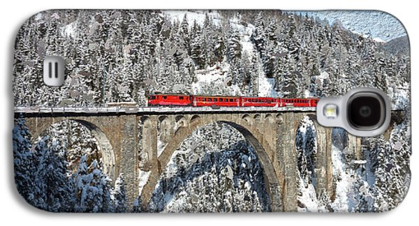 Switzerland Mixed Media Galaxy S4 Cases - Swiss Bridge - Snow Painting Galaxy S4 Case by Mike Rampino