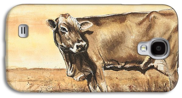 Swiss Mixed Media Galaxy S4 Cases - Swiss Brown Cow Galaxy S4 Case by Sara Cuthbert