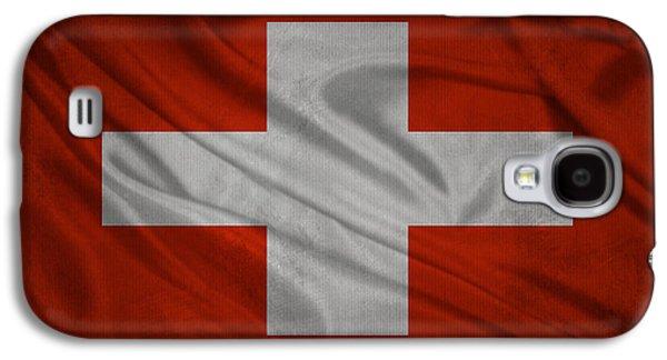 Swiss Mixed Media Galaxy S4 Cases - Swiss flag waving on aged canvas Galaxy S4 Case by Eti Reid