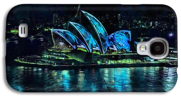 Sunset Abstract Mixed Media Galaxy S4 Cases - Sydney Opera House By Night Galaxy S4 Case by Georgiana Romanovna