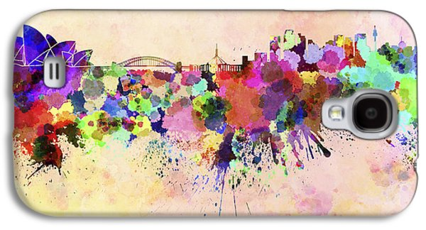 Sydney Skyline In Watercolor Background Galaxy S4 Case by Pablo Romero