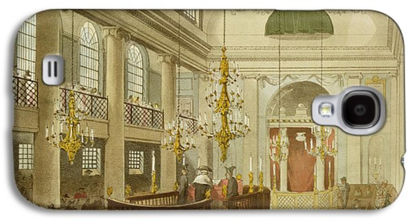 Religious Drawings Galaxy S4 Cases - Synagogue at Dukes Place in Houndsditch Galaxy S4 Case by Pugin And Rowlandson