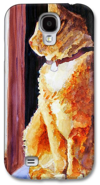 Orange Tabby Paintings Galaxy S4 Cases - Tabbys Favorite Seat Galaxy S4 Case by Jenny Armitage