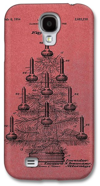Candle Lit Mixed Media Galaxy S4 Cases - Table Christmas Tree Patent Red Galaxy S4 Case by Dan Sproul