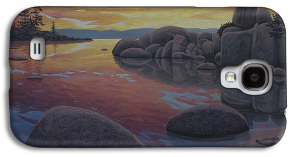 Waterscape Paintings Galaxy S4 Cases - Tahoe Sunset Galaxy S4 Case by James English Babcock