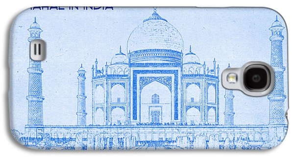Mystical Landscape Mixed Media Galaxy S4 Cases - Taj Mahal in India - BluePrint Drawing Galaxy S4 Case by MotionAge Designs
