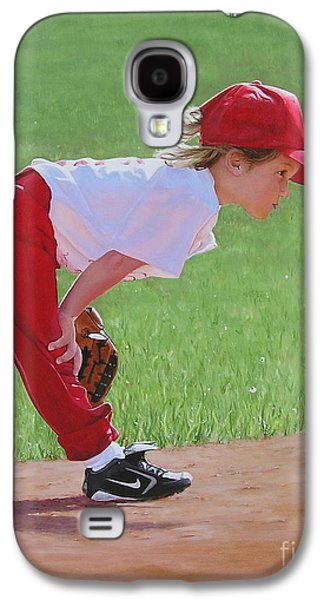 Baseball Glove Paintings Galaxy S4 Cases - Taking an Infield Position Galaxy S4 Case by Emily Land