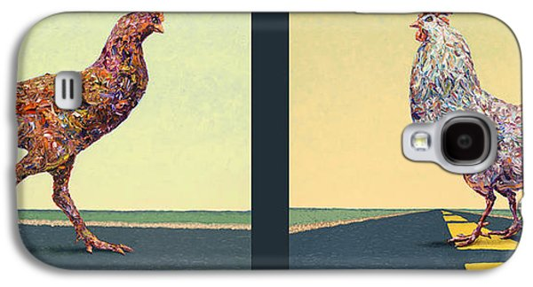 Road Paintings Galaxy S4 Cases - Tale of Two Chickens Galaxy S4 Case by James W Johnson