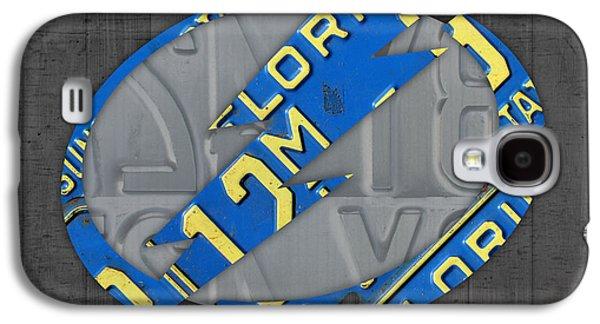 Hockey Mixed Media Galaxy S4 Cases - Tampa Bay Lightning Retro Hockey Team Logo Recycled Florida License Plate Art Galaxy S4 Case by Design Turnpike