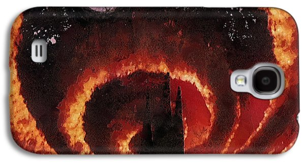 Tangerine Paintings Galaxy S4 Cases - Tangerine Circle Galaxy S4 Case by Mo T