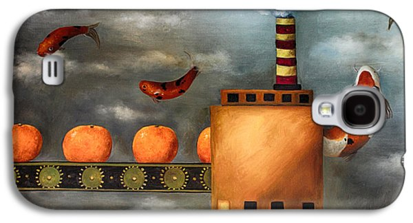 Tangerines Paintings Galaxy S4 Cases - Tangerine Dream edit 2 Galaxy S4 Case by Leah Saulnier The Painting Maniac
