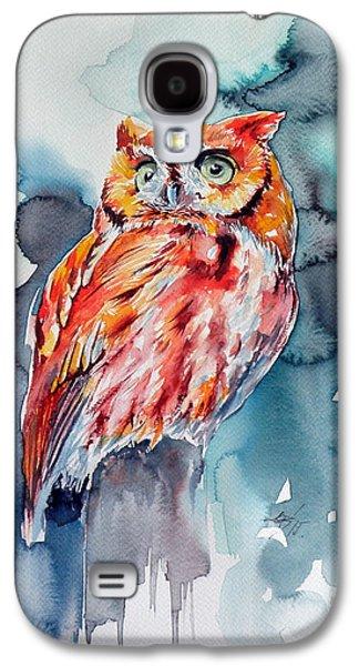 Tangerines Paintings Galaxy S4 Cases - Tangerine owl  Galaxy S4 Case by Kovacs Anna Brigitta
